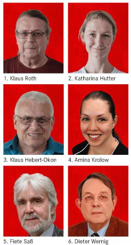 1. Klaus Roth, 2. Katharina Hutter, 3. Klaus Hebert-Okon, 4. Amina Krolow, 5. Fiete Saß, 6. Dieter Wernig
