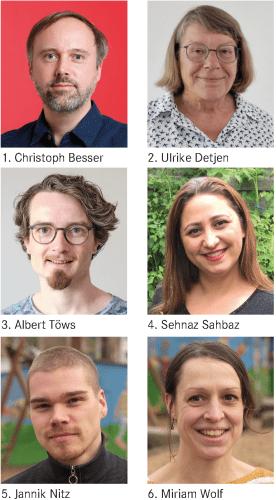 1. Christoph Besser, 2. Ulrike Detjen, 3. Albert Töws, 4. Sehnaz Shabaz, 5. Jannik Nitz, 6. Miriam Wolf