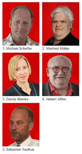 1. Michael Scheffer, 2. Manfred Müller, 3. Gunda Wienke, 4. Hubert Alflen, 5. Sebastian Tautkus
