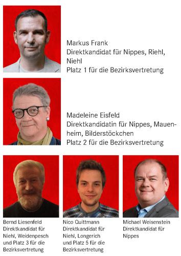 1. Markus Frank, 2. Madleine Eisfeld, 3. Bernd Liesenfeld, 4. Marie-Luise Flohr, 5. Nico Quittmann, 6. Gertrud Scholz, 7. Andree Willige